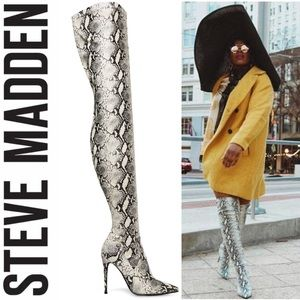 Steve Madden Snake Pointed Thigh Boots